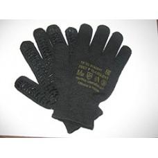 Перчатки ПВХ волна 6-нитка черные люкс 7,5/6 код 235