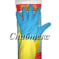 Перчатки резиновые хозяйственные с хлопком 1-й сорт Люкс (M-082, L-081, XL-132)