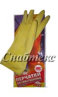 Перчатки резиновые хозяйственные с хлопком 1-й сорт (S-137, M-078, L-079, XL-073)
