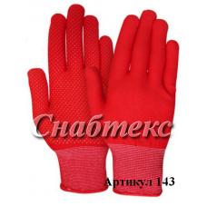 Перчатки нейлон с пвх красные (L), код 143