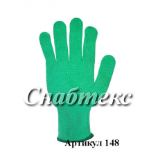 Перчатки нейлон с пвх зеленые (L), код 148