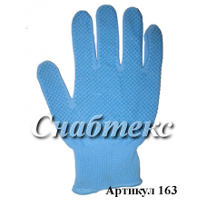 Перчатки нейлон с пвх голубые (M), код 163