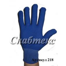 Перчатки нейлон с пвх синие (L), код 218
