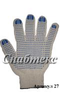 Перчатки пвх-точка 10 класс 4-нитка, код 027