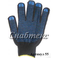 Перчатки пвх черные 5-нитка, 10 класс, код 055