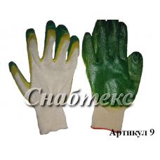 Перчатки хб с латексом двойной облив, код 009