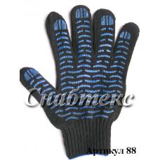 Перчатки пвх-волна 6-нитка черные, код 088